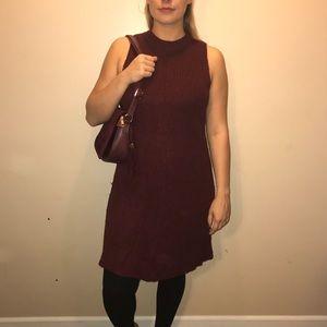 Maroon Crochet Sweater Dress